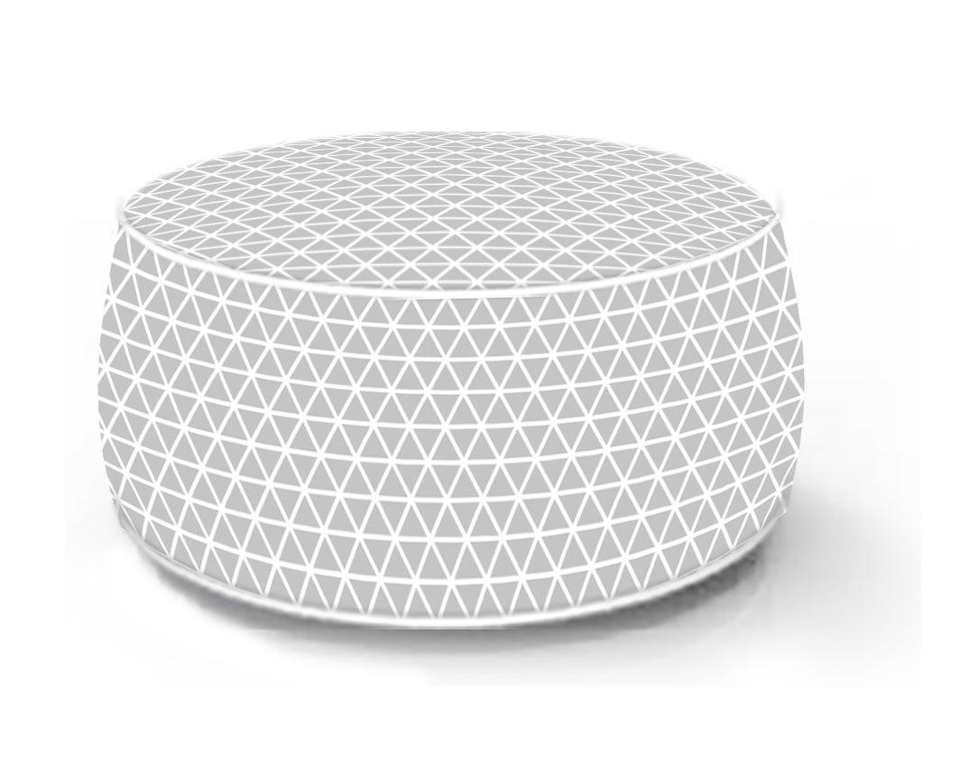 Pouf de sol gonflable blanc / gris, 53 x 53 cm