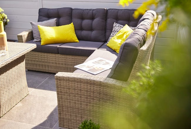 Salon Bas De Jardin Naterial Daveport Aluminium Gris 6 Personnes Leroy Merlin