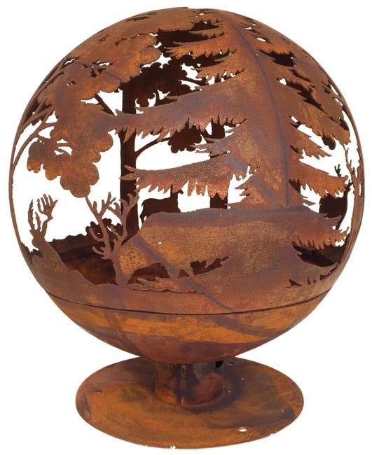 Brasero Au Bois Ff261 Globe En Acier Motif Cerfs D57 5 X Rouille