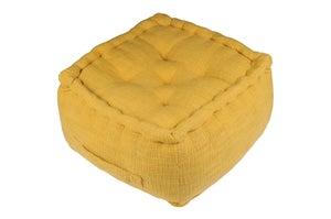 Image : Pouf d'intérieur jaune moutarde Venise, 40 x 40