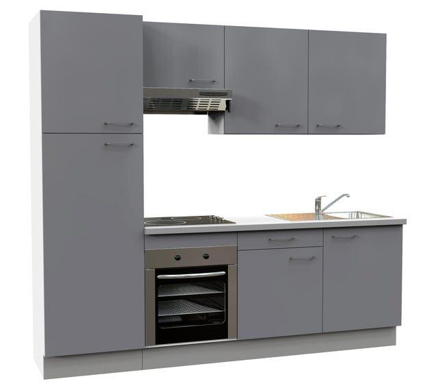 Cuisine Equipee Gris Brillant L 240 Cm Electromenager Inclus Leroy Merlin