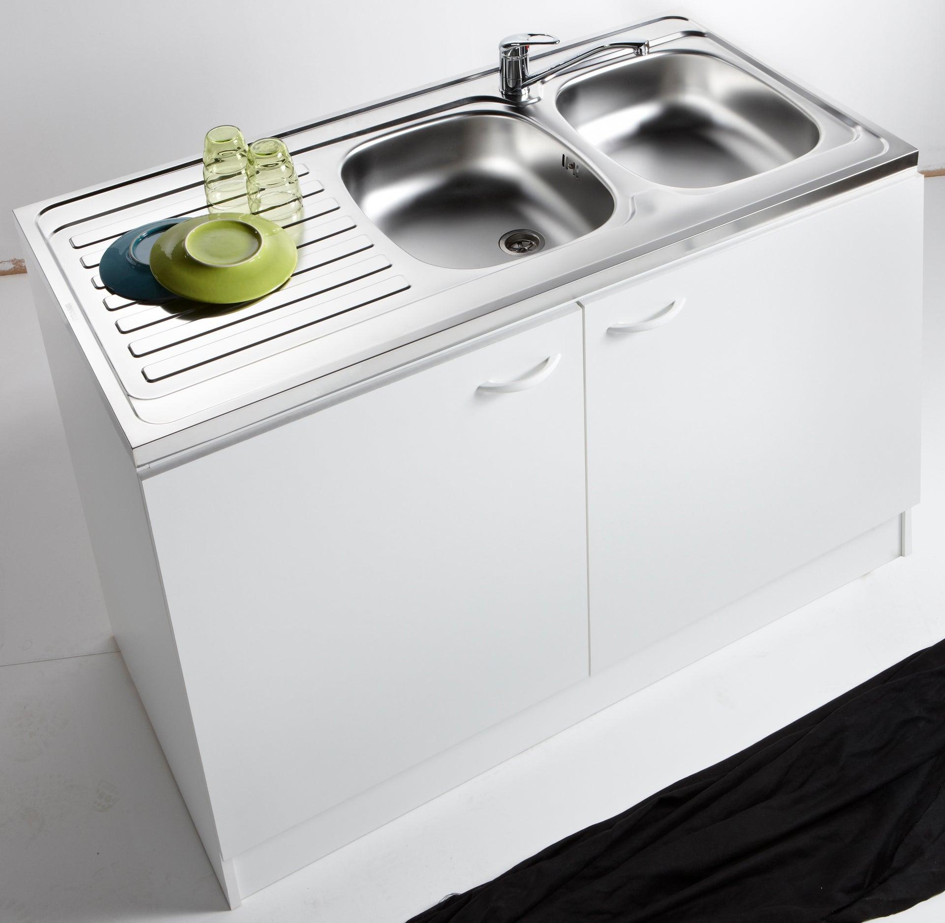 Meuble de cuisine sous-évier 11 portes, blanc, h11x l1110x p11cm