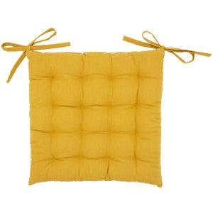 Galette de chaise Santorin, jaune moutarde l.40 x H.40 cm