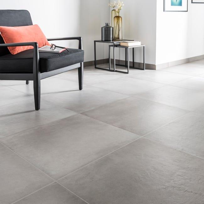 Carrelage Sol Et Mur Intenso Beton Gris Ciment Time L 60 X L 60 Cm Leroy Merlin