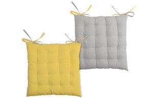 Galette de chaise Duo, gris / jaune l.40 x H.7 cm