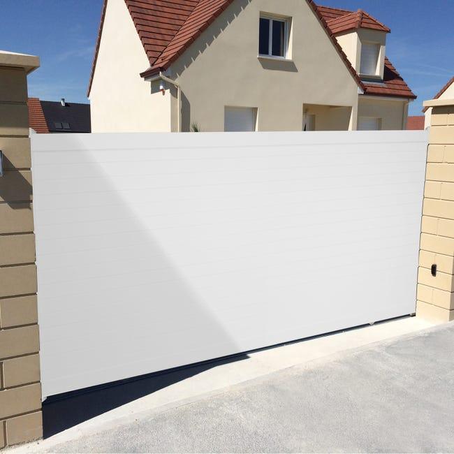 Portail Coulissant Aluminium Concarneau Blanc Naterial L 412 X H 153 Cm Leroy Merlin