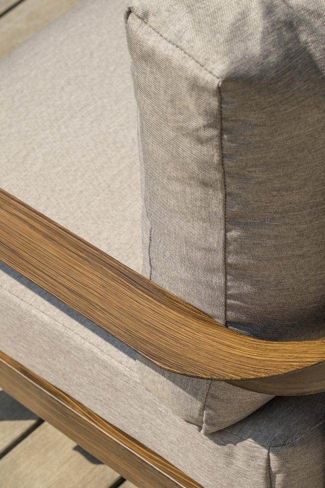 Salon bas de jardin Portofino alu/imitation bois - Gris/Marron, 4 personnes