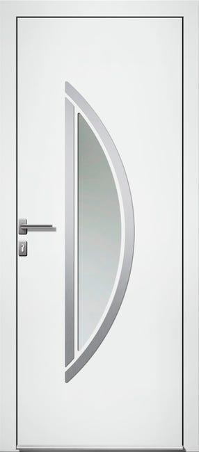 Porte D Entree Alu Lorca Essentiel H 215 X L 90 Cm Vitree Blanc Poussant Droit Leroy Merlin