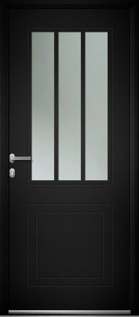 Porte D Entree Alu Atelier Premium H 215 X L 90 Cm Vitree Noir Poussant Droit Leroy Merlin