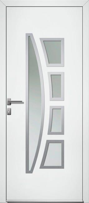 Porte D Entree Pvc Riwa Premium H 215 X L 90 Cm Vitree Blanc Poussant Gauche Leroy Merlin