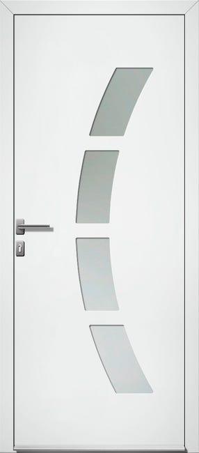 Porte D Entree Pvc Toledo 2 Premium H 215 X L 90 Cm Vitree Blanc Pous Gauche Leroy Merlin