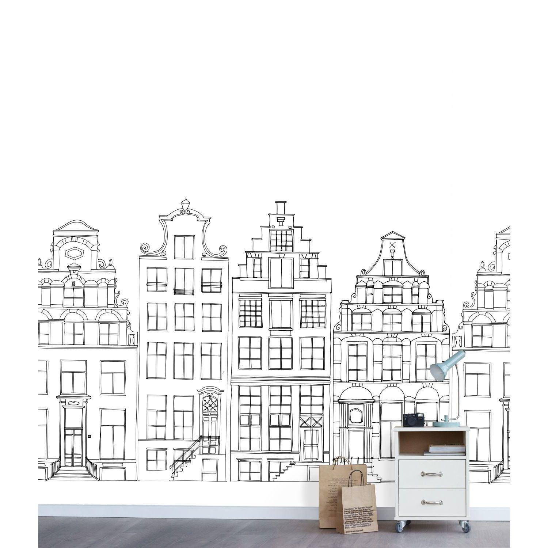 papier peint panoramique xl maison noir blanc intisse esta l 139 5 x h 279 cm