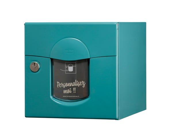 Boite Aux Lettres Normalisee La Poste 1 Porte Ext Renz Acier Bleu Turquoise Leroy Merlin