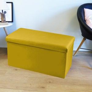 Image : Pouf d'intérieur jaune moutarde Pliable oxford uni, 76 x 38