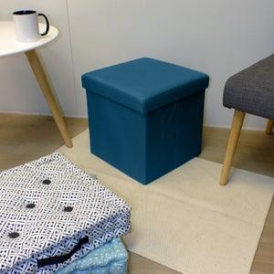 Image : Pouf d'intérieur bleu Pliable oxford uni, 35 x 35
