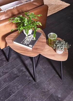 Image : Tables gigognes Lord, noir et bois foncé l.50 x H.50 cm
