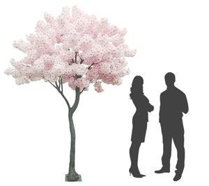 Pommier artificiel en fleurs rose Ligne Deco, H 270 cm
