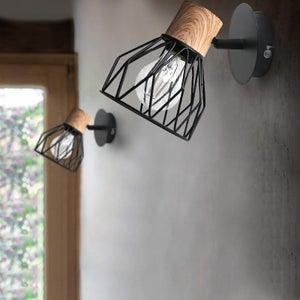 Image : Applique, nature métal noir / bois SEYNAVE Clayton 1 lumière(s)