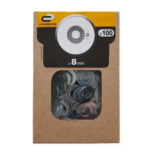 Lot de 100 rondelles acier zingue, Diam.8 mm STANDERS