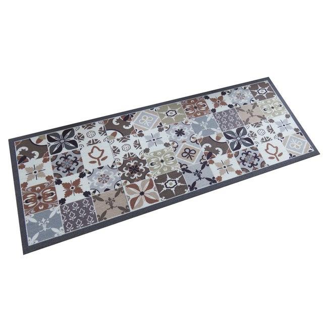 Tapis de cuisine, L.45 x l.120 cm, motif carreaux de ciment