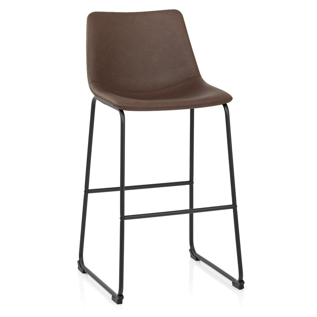 Chaise de bar industriel, simili cuir, marron, Bucket antique