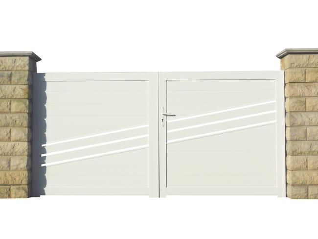 Portail Battant Pvc Rousset Blanc L 350 X H 150 Cm Leroy Merlin