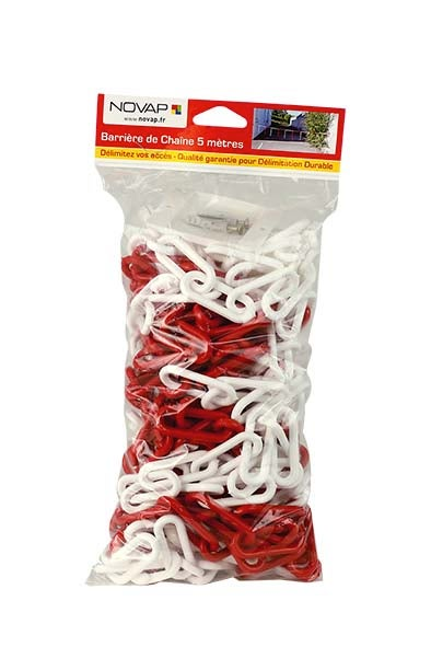 8 mm NOVAP Chaine de signalisation en plastique rouge//blanc