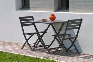 Image : Table de jardin de repas Marius carrée gris anthracite 2 personnes