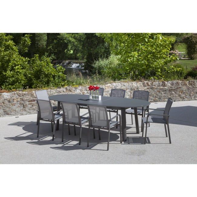 Table De Jardin Capucine Ovale Gris 10 Personnes Leroy Merlin