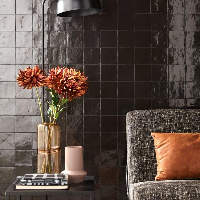 Carrelage Mur Forte Uni Noir Brillant L 10 X L 10 Cm Zellie Leroy Merlin