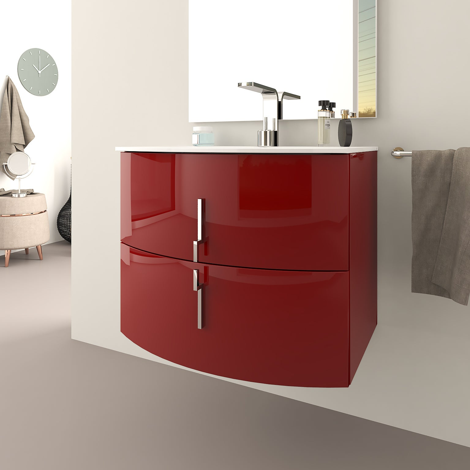 Meuble simple vasque l.10 x H.10, rouge, Sting