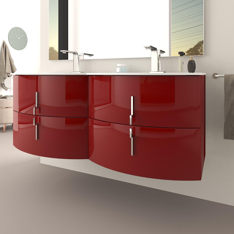 Meuble double vasque l.18 x H.18, rouge brillant, Sting