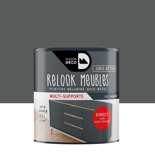 Peinture Pour Meuble Relook Maison Deco Gris Satine 0 5 L Leroy Merlin