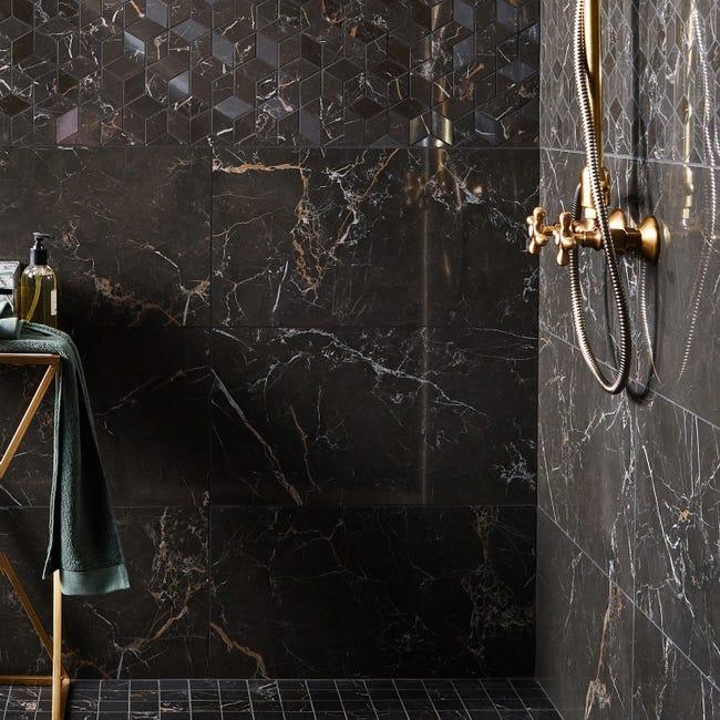 Carrelage Mur Intenso Marbre Noir Gold Brillant L 30 5 X L 56 Cm Murano Leroy Merlin