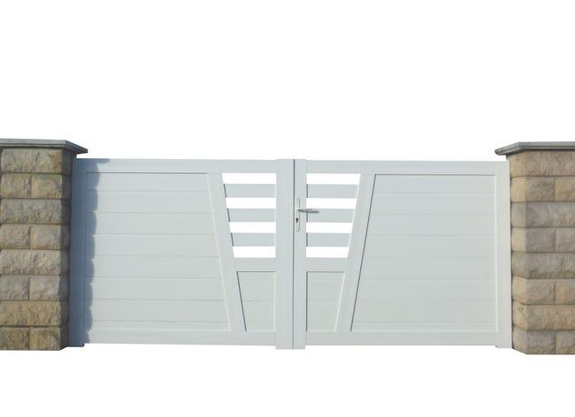 Portail Battant Pvc Baumier Blanc L 300 X H 130 Cm Leroy Merlin