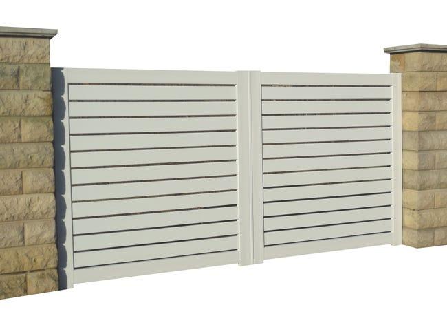 Portail Coulissant Pvc Sancy Blanc Naterial L 370 Cm X H 150 Cm Leroy Merlin