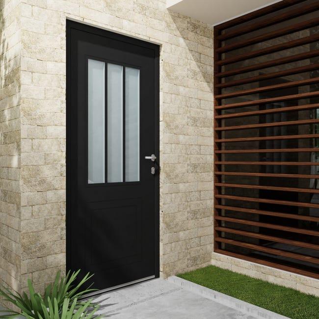 Porte D Entree Alu Atelier Essentiel H 215 X L 90 Cm Vitree Noir Pous Gauche Leroy Merlin