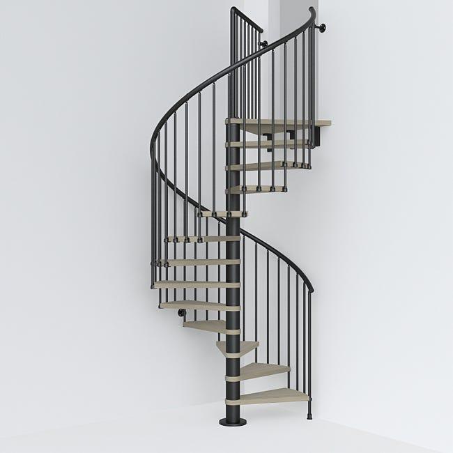 Escalier Colimacon Rond Revers Acier Noir Ring 12 Marches Orme Clair 128 Cm Leroy Merlin