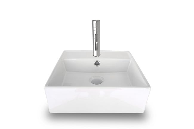 Vasque A Poser Ceramique Square 40 L 38 X P 38 Cm Blanc Leroy Merlin