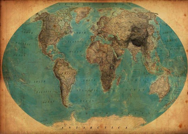 Toile Imprimee World Map 2 Artis L 140 X H 100 Cm Leroy Merlin