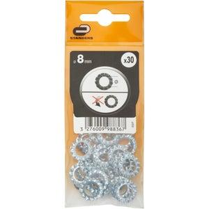 Lot de 30 rondelles acier, Diam.8 mm STANDERS
