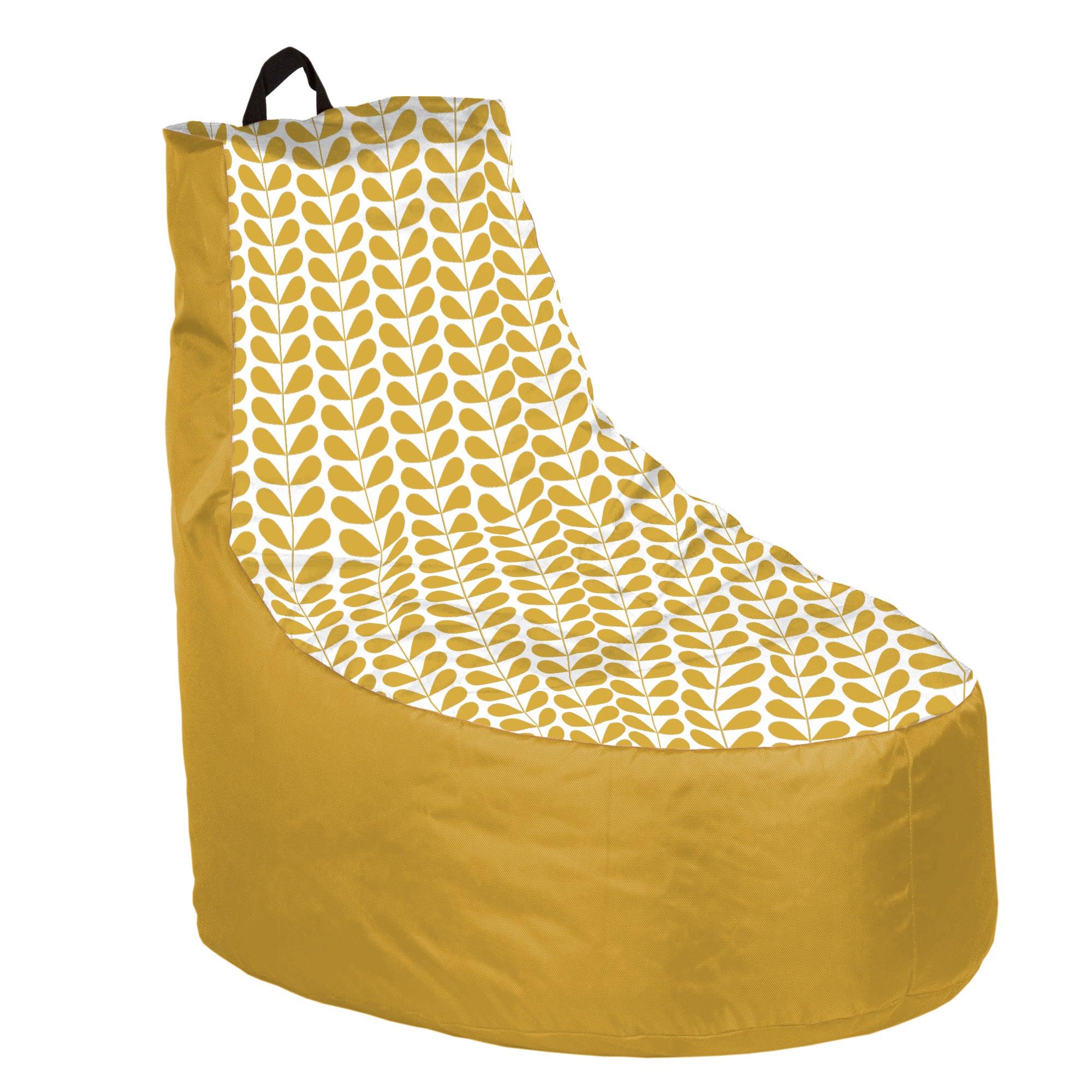 pouf poire impermeable microbilles moutarde 86 x 68 cm