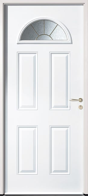 Porte D Entree Acier Elegance 3 H 215 X L 90 Cm Vitree Blanc Pg Leroy Merlin