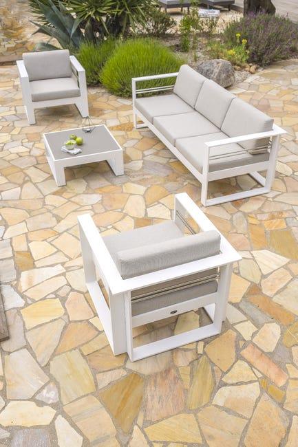 Salon Bas De Jardin De Jardin En Aluminium St Raphael Blanc Leroy Merlin