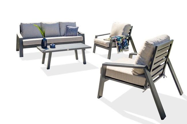 Salon bas de jardin en aluminium Ibiza gris anthracite, 5 personnes