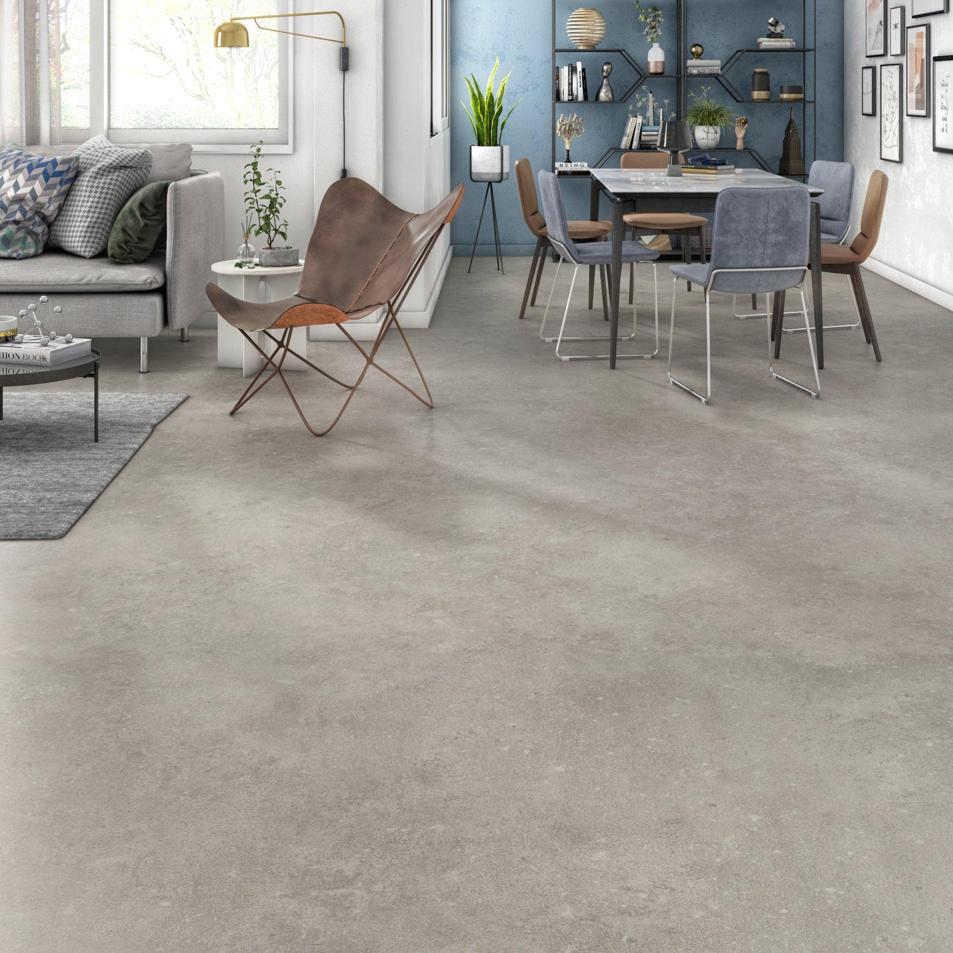 Sol PVC GERFLOR effet béton gris / argent léone Livraison incluse l.9 m