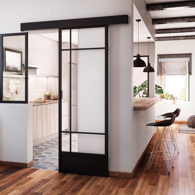 Porte Coulissante Atelier Vitree Emma Noir H 204 X L 73 Cm Leroy Merlin
