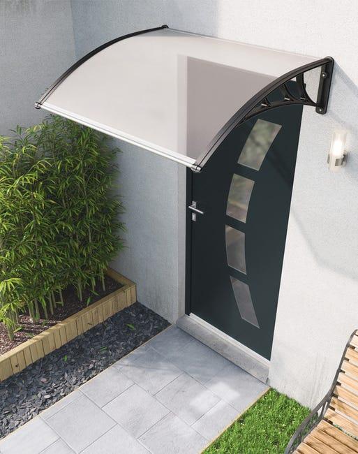 Auvent De Porte Resine Noir Miami L 120 X H 42 X P 100 Cm En Kit Leroy Merlin