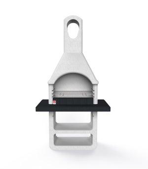 Image : Barbecue en béton gris, l.64 x L.114 x H.210.5 cm