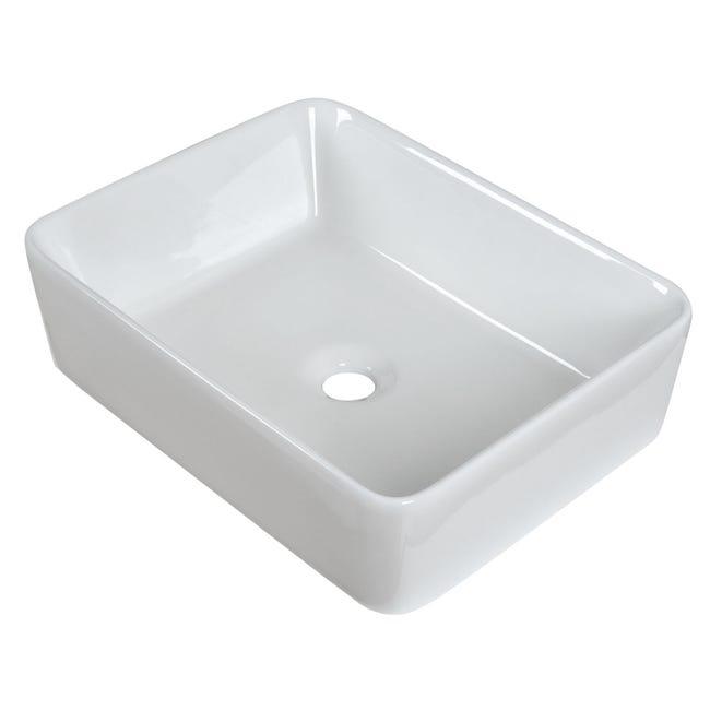 Vasque A Poser Ceramique Clint L 48 X P 37 Cm Blanc Leroy Merlin